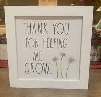 "Rae Dunn - THANK YOU FOR HELPING ME GROW - Wooden Sign - 9""x9"" - Teacher"