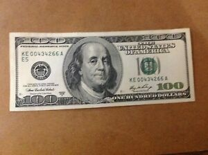 $100 US. 2006A FRN. Old Style Note no longer made. Low ser. #.E Fed. High Grade.