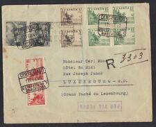 SPAIN 1940 REG AIRMAIL CVR BARCELONA TO LUXEMBOURG SPANISH CENSOR IN OVAL ON REV