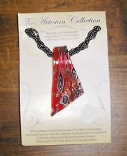 Red Art Glass Gold Foil Hand Painted Pendant Necklace Beads Artesian Collection