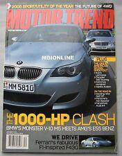 Motor Trend magazine 12/2004 featuring Mercedes AMG, BMW M5, Ferrari