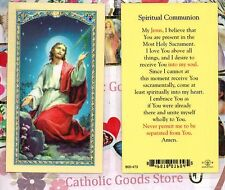 Jesus with Chalice- Spiritual Communion - Laminated  Holy Card