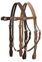 WESTERN SADDLE HORSE BLING BRIDLE HEADSTALL W/ 5' SPLIT REINS MEDIUM OR DARK OIL