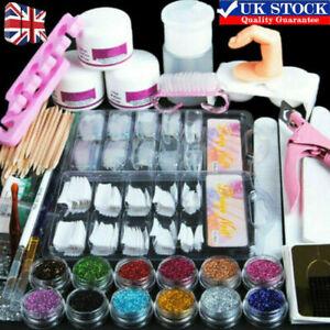 Nail Art Tool Starter Kit-Set DIY Full Acrylic Powder Nail Tips Brush File Form