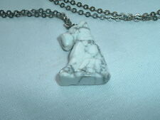 Vintage Hand Carved Marble Schnauzer Terrier Pendant Necklace in Gift Box