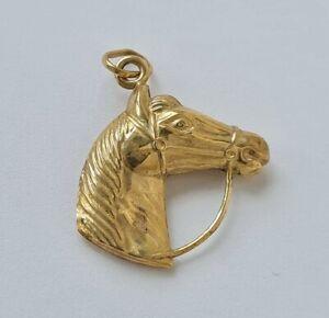"9 ct / 375 Yellow Gold ""Horse Head"" Equestrian Charm/ Pendant/ L 1.9 cm/ 1.2 g."