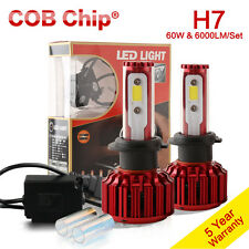 H7 LED Headlight Kit 60W 6000LM 5000K 6000K White Canbus COB Bulbs One Pair