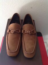 LOUIS VUITTON MENS $1395 BROWN SUEDE LOFERS SIZE 7.5 NEW IN BOX ITALY 🇮🇹