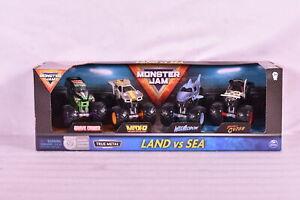 Monster Jam LAND vs SEA 1:64 Diecast True Metal 4 Pack Set