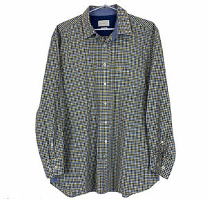 Bugatti Mens Grey/Yellow Check Long Sleeve Button Up Short Size L 41/42