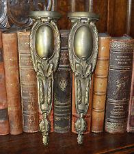 Antique Pair French Bronze Pediment Furniture Mounts Garland Design