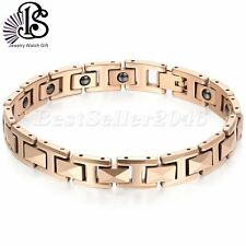 BS-8MM Women Rosegold Tone Tungsten Carbide Health Magnetic Bangle Bracelet 7.6""