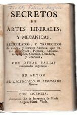 1734 MONTON BOOK OF SECRET ARTS, 191 PAGES, SPANISH, PAINTING, CHEMISTRY