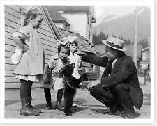 Children Kids Playing With Bear Cub Alaska 1910's Vintage Silver Halide Photo