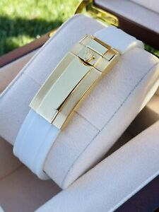 Custom 24K Gold 44mm 42mm White OYSTERFLEX ROLEX Band for Apple Watch ANY SERIES