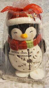 Mainstays 5 piece Ceramic Gift Set Penguin Tealight Candle Holder