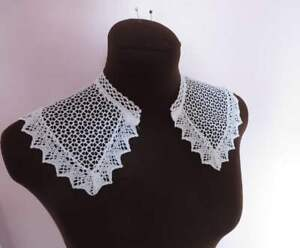 80's Vintage style white cotton lace one-piece collar.