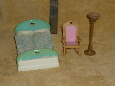 Fisher Price Loving Family Dollhouse Bedroom Lot: Bed Blanket Lamp Rocking Chair