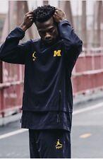 PSNY Michigan Nike Air Jordan Pullover Hoodie Rare Sample Sz XL Blue New