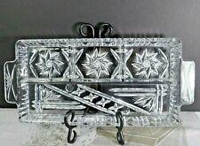 "Lovely Vintage Pinwheel cut glass Heavy part rectangular relish tray 13 3/4"" EXC"