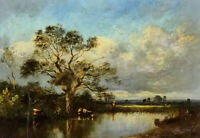 Dream-art Oil painting Leon Victor Dupre - Cows cattle in a Landscape by river