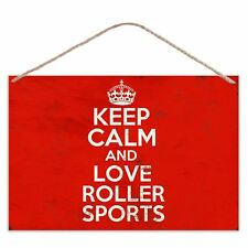 Keep Calm And Love Roller Sports - Vintage Look Metal Large Plaque Sign 30x20cm