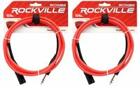 2 Rockville RCXMB6-R Red 6' Male REAN XLR to 1/4'' TRS Balanced Cables