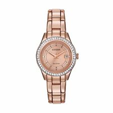 Citizen Eco-Drive Silhouette Women's FE1123-51Q Crystals Rose Gold 28mm Watch