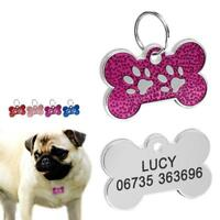 Bone Engraved Dog Tags Personalised Cat Puppy Pet ID Collar Tags