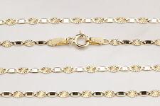 Plattenkette 585 14k Gold Damen Herren Halskette Kette Collier Diamantiert 45 cm