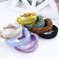 Women Elegant Solid Color Headband Girl Wide-Brimmed Hairband Hair Accessories
