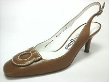 FERRAGAMO Womens HEELS SHOES Pumps Tan Brown GANCINI BIT US 8/8.5 AA EU.39 $675