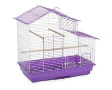 "House Style Double Roof Cockatiel Bird Cage 24"" with 3 Perches, 2 Cups - Purple"