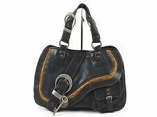 Christian Dior Gaucho Shoulder Bag hand bag Leather Blak 100% Auth From JAPAN