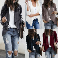 US Womens Long Sleeve Leather Open Front Short Cardigan Suit Jacket Office Coat