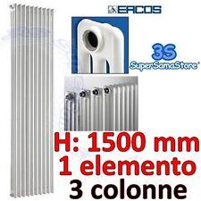 3S RADIATORE CALORIFERO TUBOLARE ACCIAIO BIANCO 3 COLONNE - H 1500 mm - ERCOS