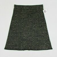 Anne Klein Women's Wool Blend Skirt Black & Gold Metallic A-Line Medium $79