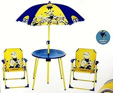 Kids Despicable Me Minions Mini Garden Furniture Set With Parasol 3-8 Years