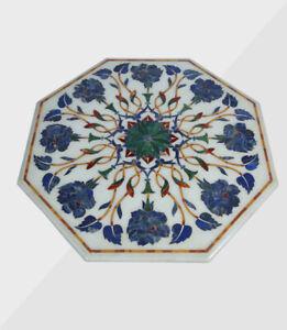 "24"" Coffee Marble Table Top Handmade Semi precious stones Work Home Decor"
