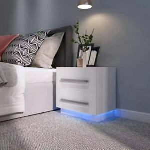 Pair of 2 High Gloss Drawers Bedside Table Cabinet Nightstand with RGB LED Light