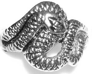 ROLLING SNAKE Metal Alloy Engraved Ring Silver Color Rock Gothic
