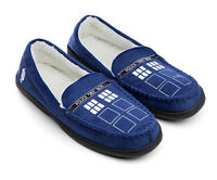 DR DOCTOR WHO TARDIS POLICE BOX MOCCASIN SLIPPERS MENS 10 12 14 WOMENS 8 NEW