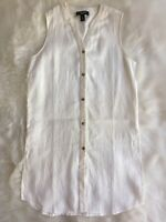 Nine West NWOT Linen Sleeveless Off White Ivory Button Front Tunic Top Medium