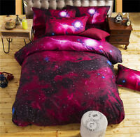 HOT 3D Galaxy Bedding Pillowcase Quilt Duvet Cover Set Or Flat Single/Double