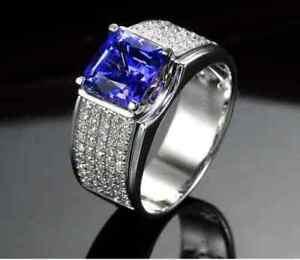 5.00Ct Cushion Cut Blue Sapphire & Diamond Men's Ring In 14K White Gold Finish