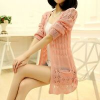 Fashion Women Lady Sweater Long Sleeve Knit Crochet Cardigan Outwear Jacket Coat