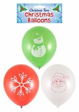 15 Assorted Balloons Christmas Santa Red Green White Balloon Decorations Snowman