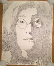 John Lennon Original Vintage Poster Pin-up Headshot Sketch Print 1969 Corey 60's