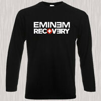 Eminem Recovery Rap Hip Hop Album Men's Long Sleeve Black T-Shirt Size S to 3XL
