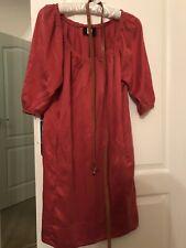 Boss Orange Deep Red Silk Cotton Dress Size 10 Witg Brown Leather Belt Rrp 250g